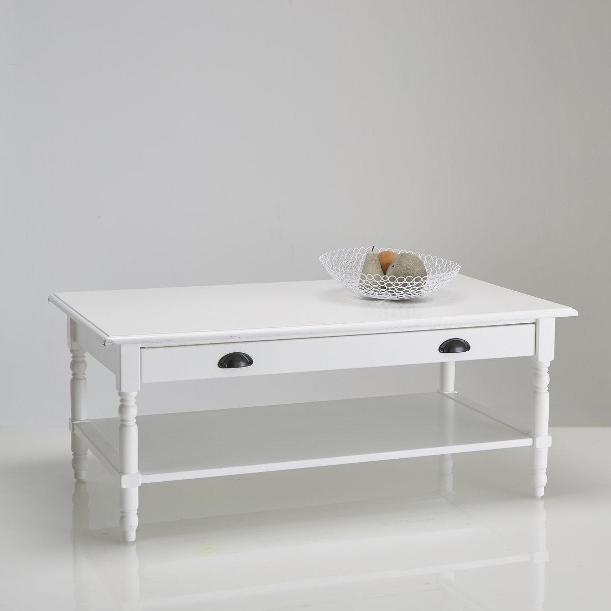 Столик La Redoute Журнальный из массива сосны с ящиком Authentic Style единый размер белый
