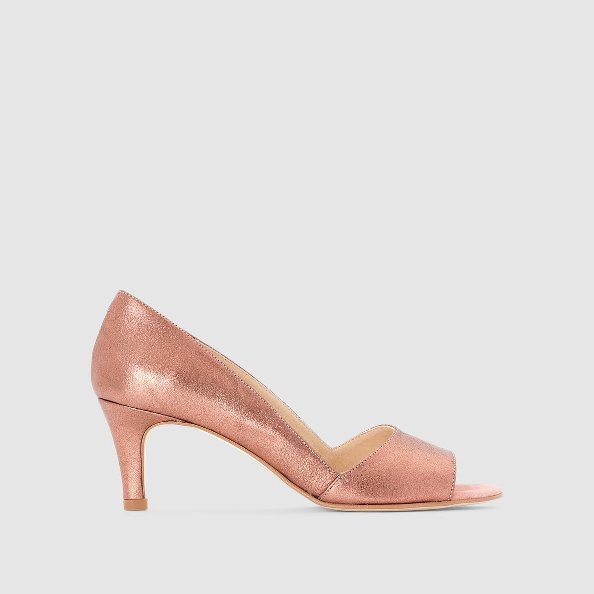 Туфли из ламинированной кожиПреимущества  : туфли на каблуке JONAK пленяют оригинальным внешним видом благодаря аутентичной и мягкой ламинированной коже.<br><br>Цвет: розовый<br>Размер: 40
