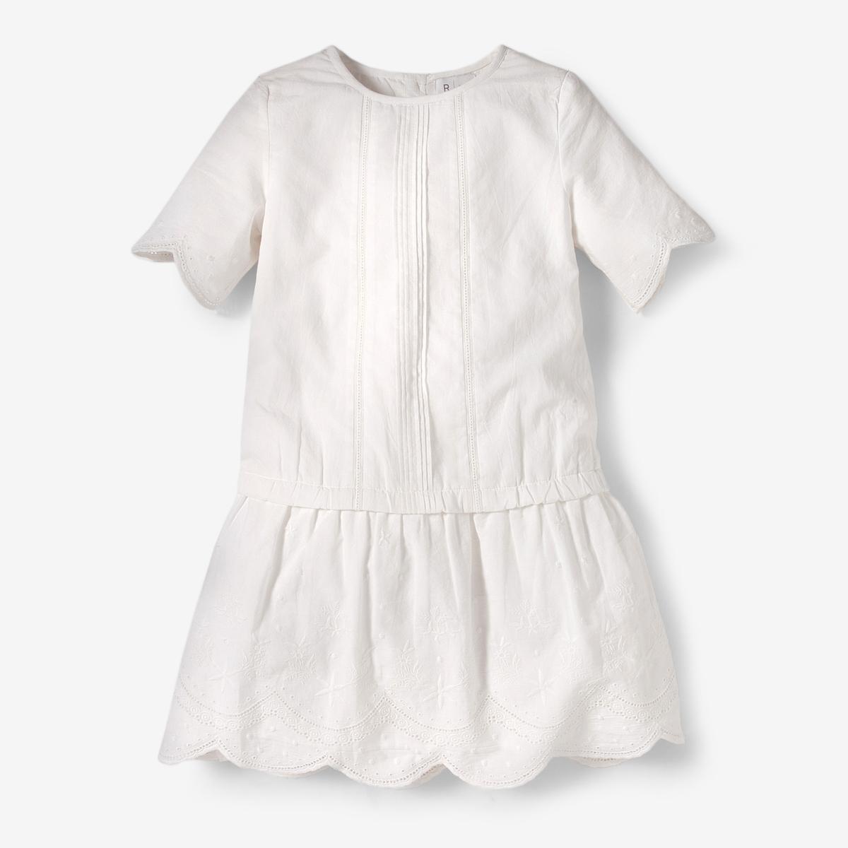 Платье до колен для девочекДетали •  Форма : расклешенная •  Длина до колен •  Короткие рукава    •  Круглый вырезСостав и уход •  100% хлопок  •  Подкладка  :100% хлопок •  Следуйте советам по уходу, указанным на этикетке<br><br>Цвет: белый,розовый