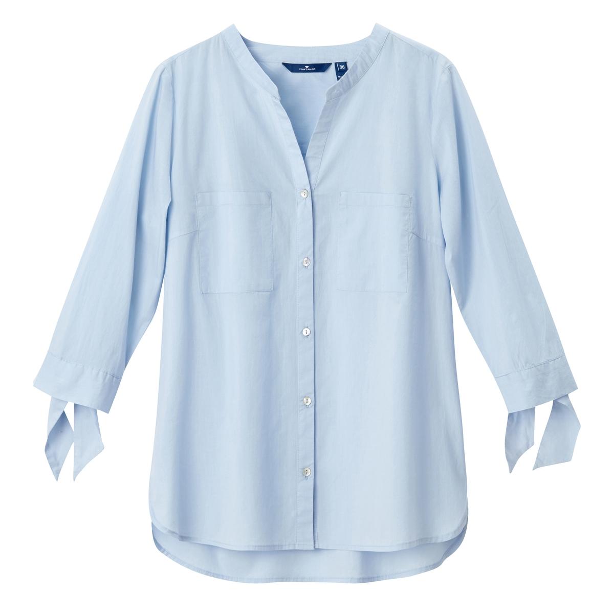 Рубашка с тунисским воротом, рукава 3/4Материал : 100% хлопок  Покрой : прямой Длина рукава : Рукава 3/4 Форма воротника : круглый вырез с разрезом спереди Длина блузки : стандартная Покрой : прямой Рисунок : однотонная модель<br><br>Цвет: голубой