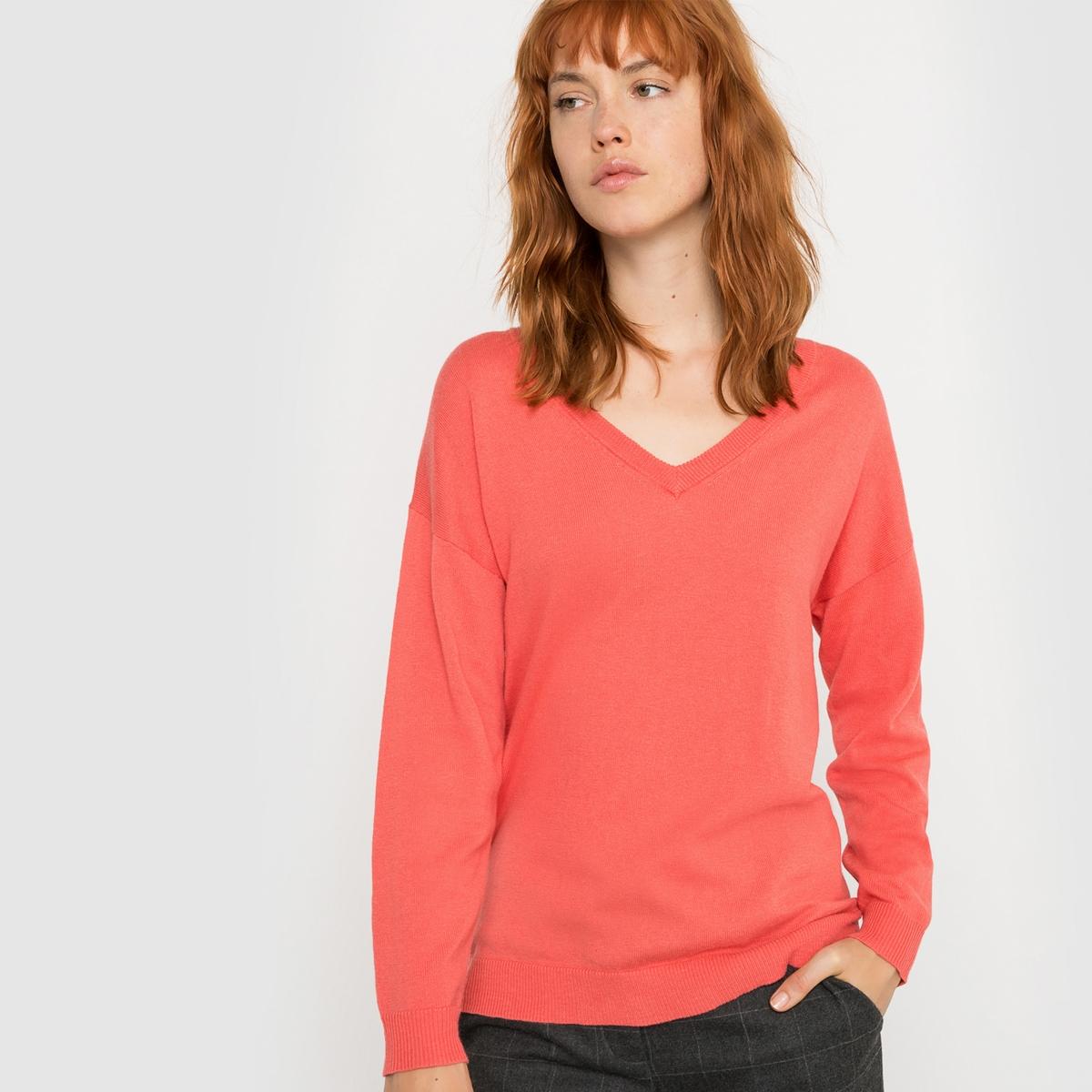 Пуловер с V-образным вырезом из хлопка и кашемира