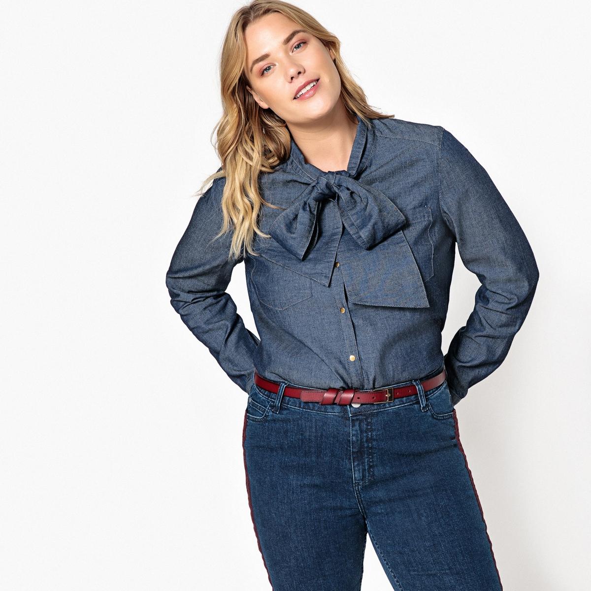 Рубашка с завязками из легкого денима рубашка прямая большого размера