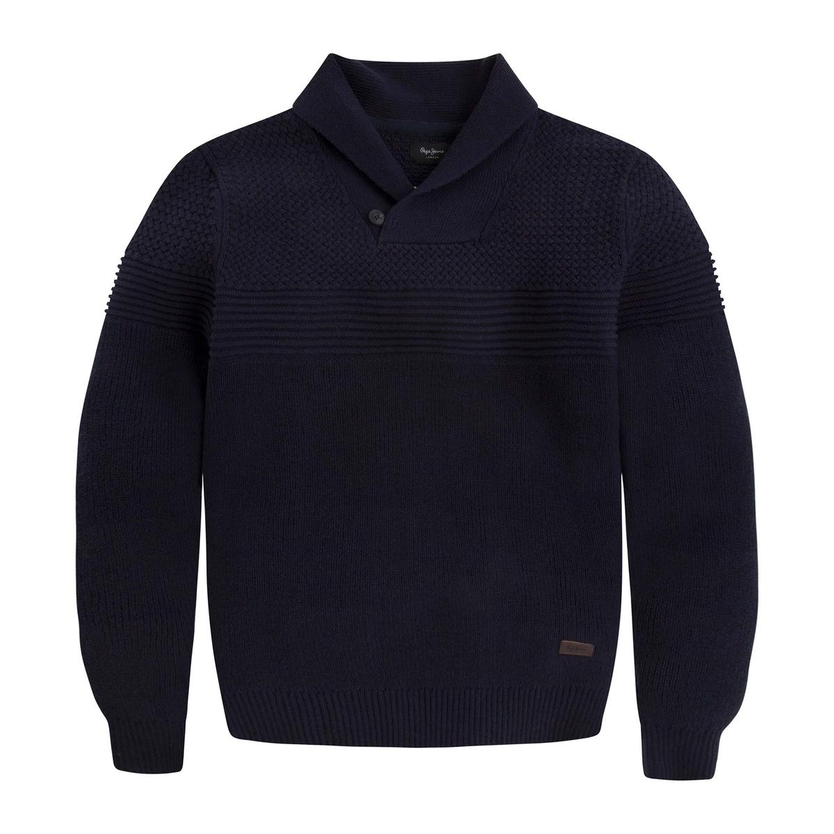 Пуловер с шалевым воротником и застежкой на пуговицы, LANCASTER 100% хлопок кардиган большого размера с шалевым воротником на пуговицах