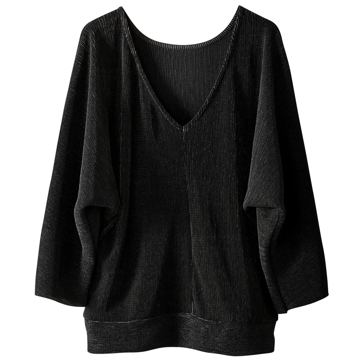 Блузка однотонная с круглым вырезом, с длинными рукавами