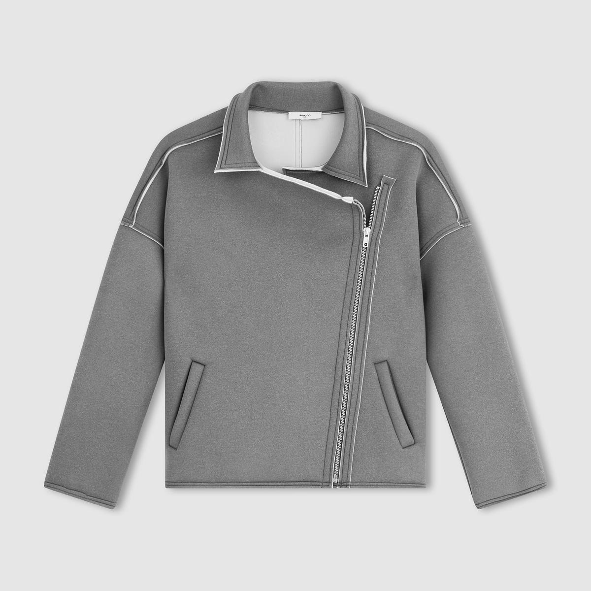 Пальто короткоеПальто короткое - SUNCOO. Асимметричная застежка на молнию. 2 кармана.Описание и деталиМатериал: 95% полиэстера, 5% эластана.    Марка:    SUNCOO.<br><br>Цвет: красный,серый меланж<br>Размер: XS.M