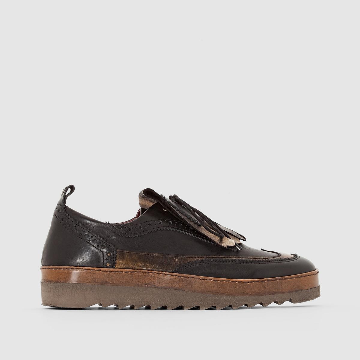 Ботинки-дерби кожаные RikkiПодкладка: Кожа   Стелька:  Кожа   Подошва: ЭВА   Застежка: шнуровка.<br><br>Цвет: черный<br>Размер: 41