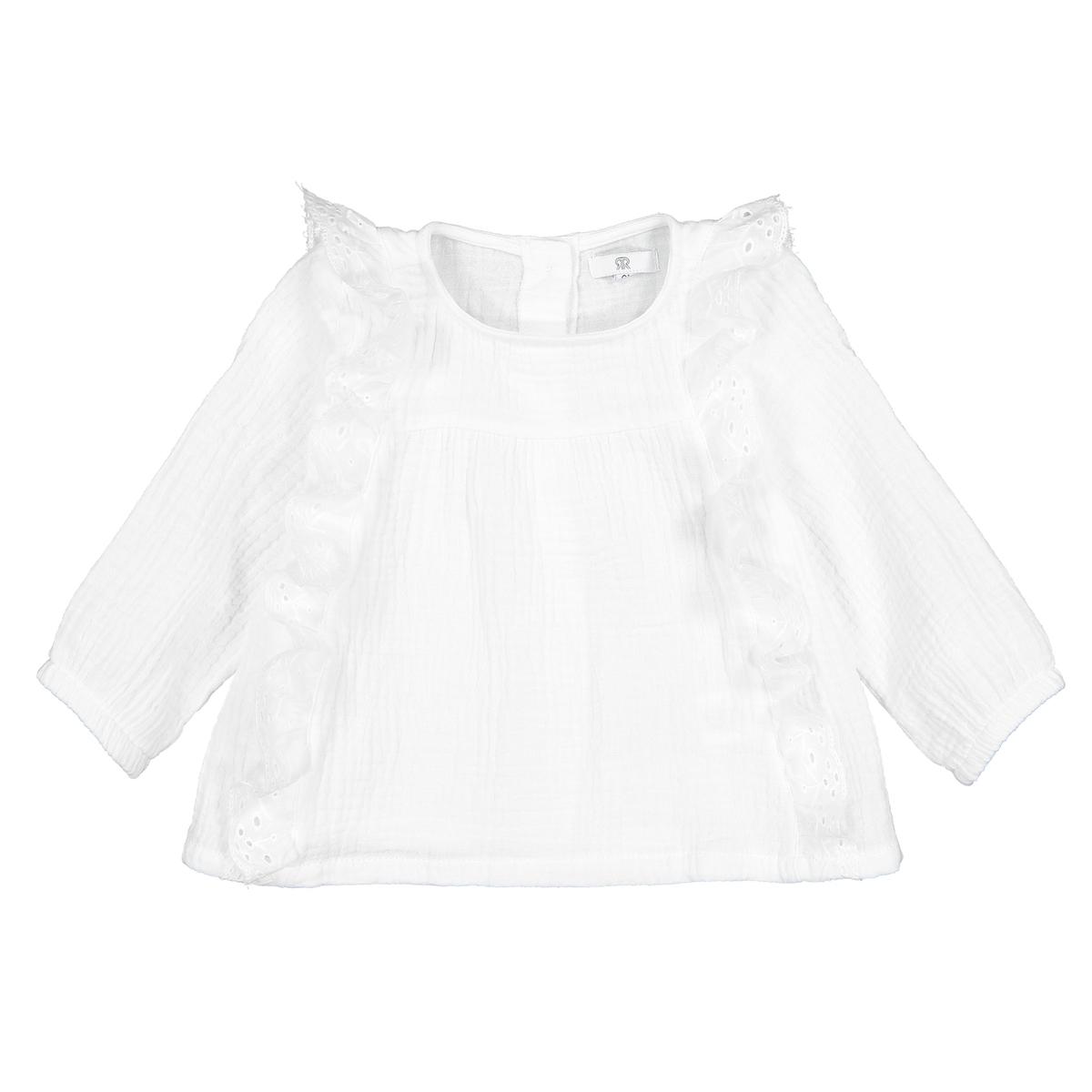 Блузка La Redoute С воланами из хлопчатобумажной газовой ткани мес 1 год - 74 см бежевый хлопок эпохи purcotton детей клип хлопчатобумажной ткани является хорошим другом 120x150cm мешок