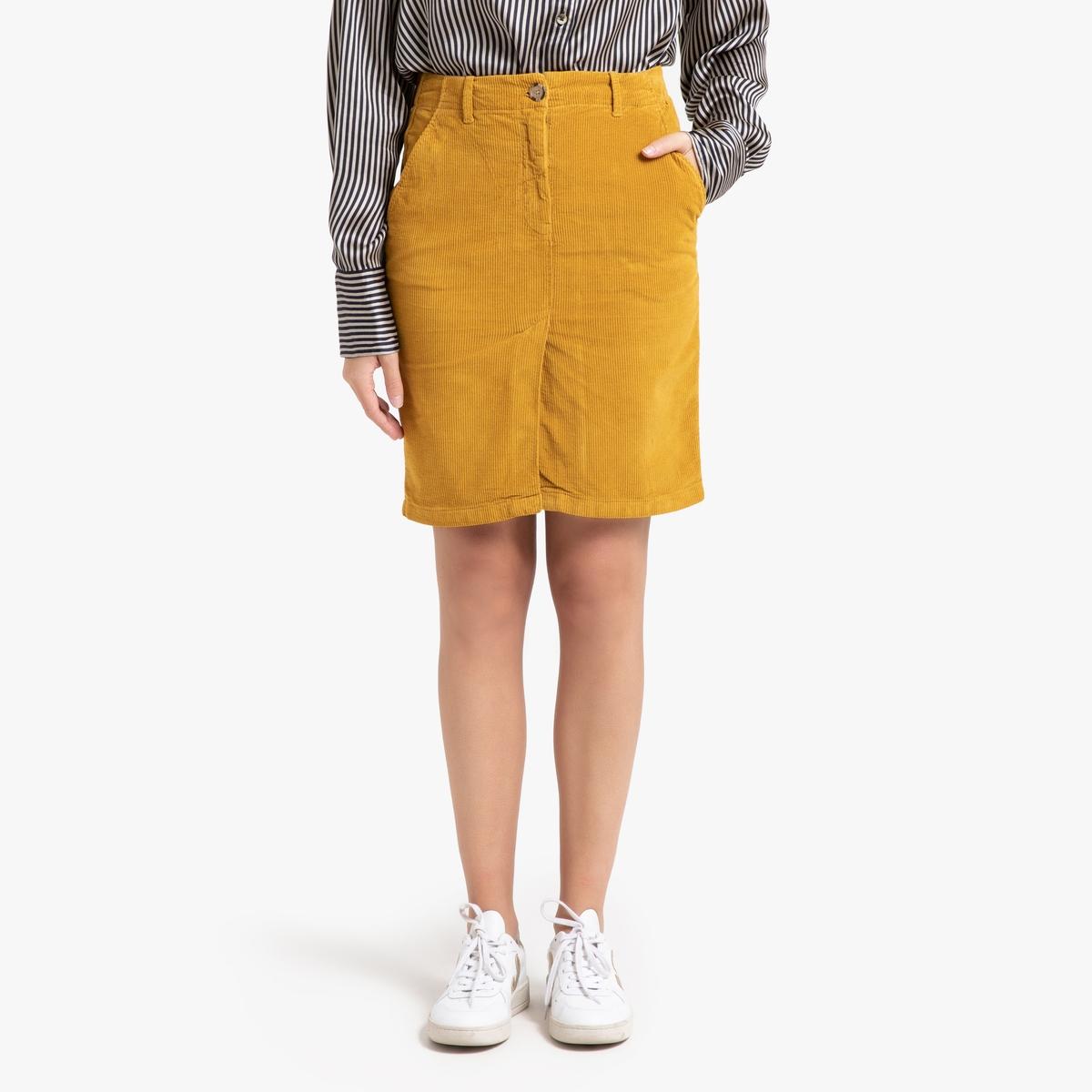 Юбка La Redoute Прямая из велюра средней длины JAUFFRET 38 (FR) - 44 (RUS) желтый платье прямого покроя средней длины с капюшоном из велюра