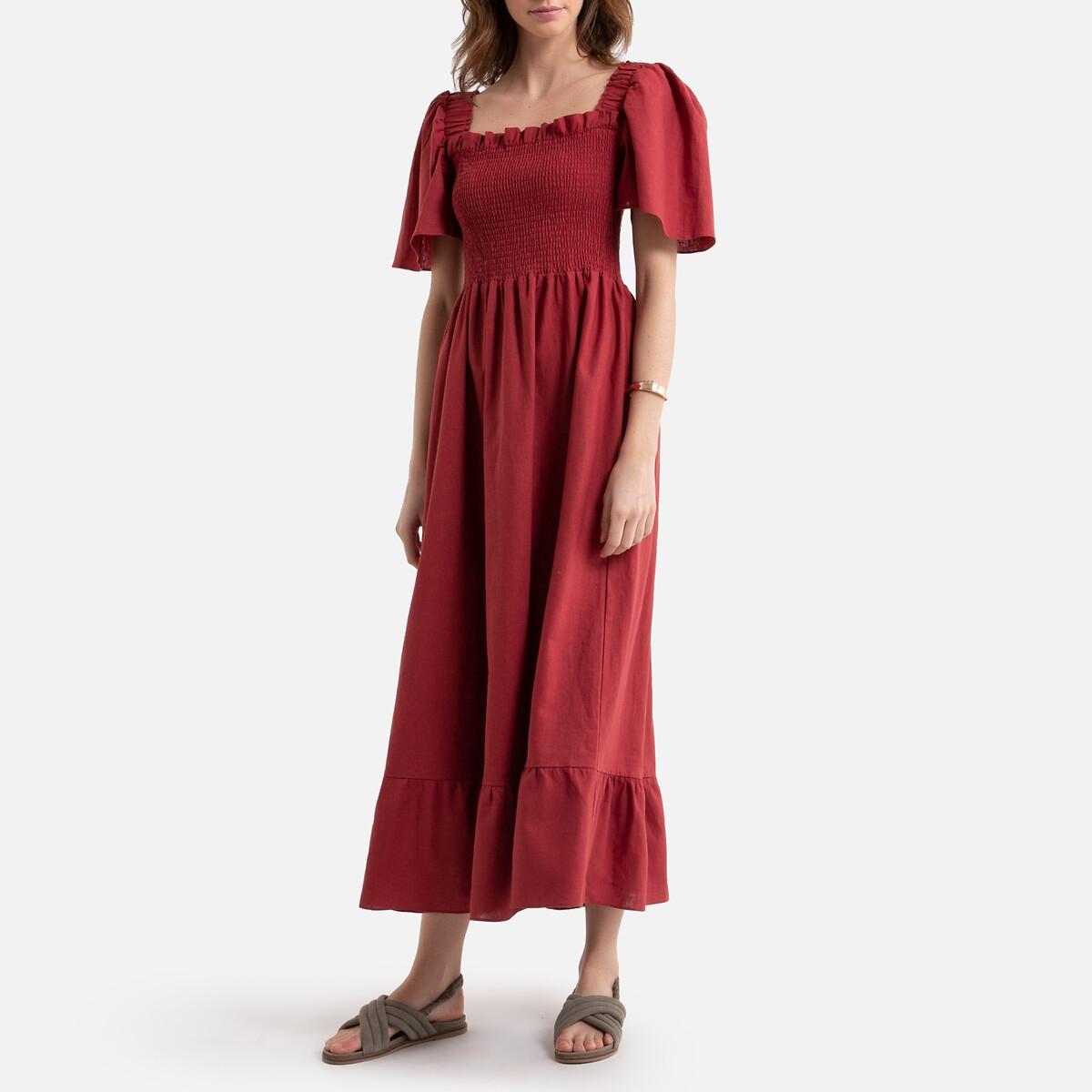 Платье La Redoute Расклешенное длинное из смесового льна 44 (FR) - 50 (RUS) красный бермуды чино из смесового льна
