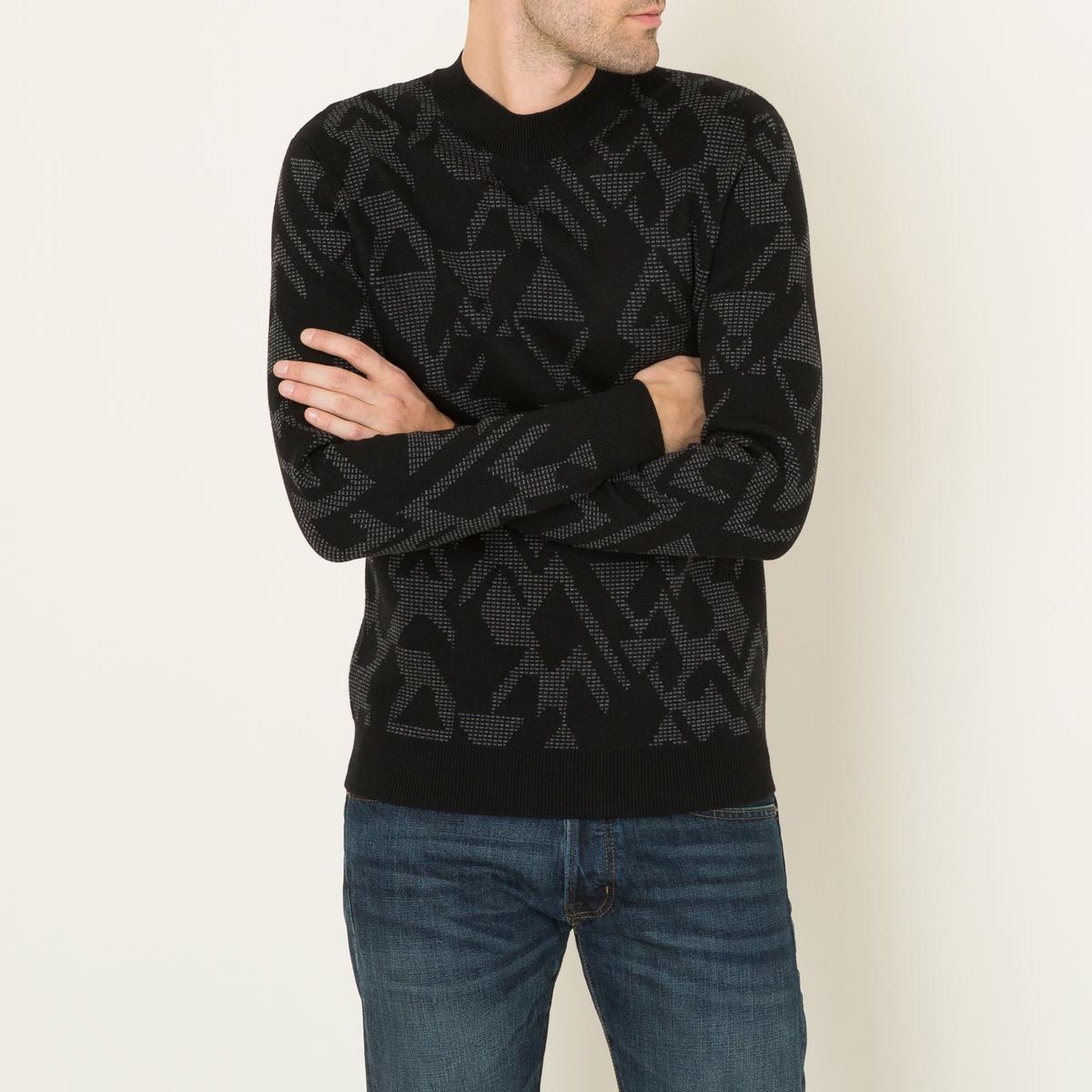 Пуловер жаккардовыйСостав и описание :Материал : 50% шерсти, 50% хлопкаМарка : THE KOOPLES<br><br>Цвет: черный