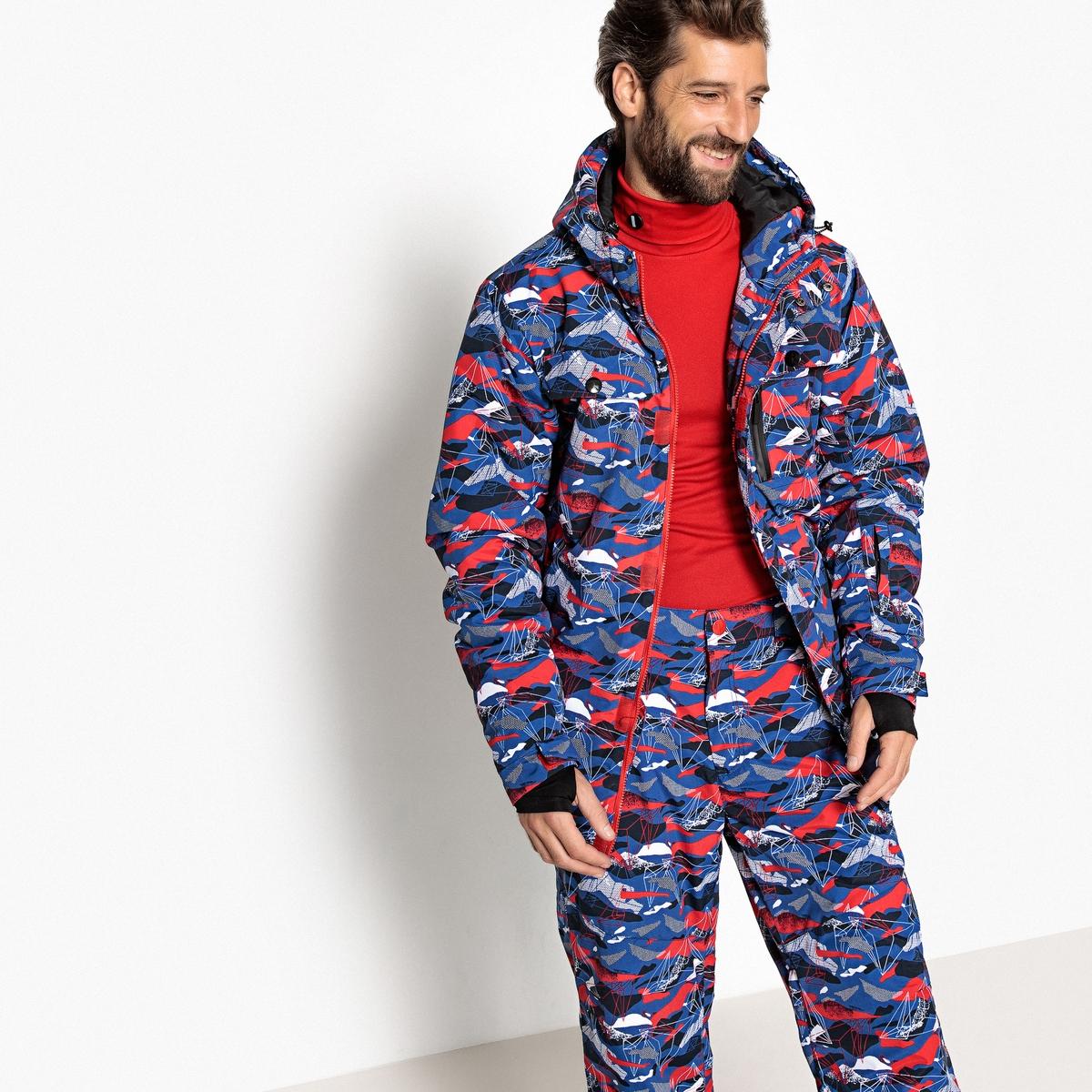 Bedruckte Snowboardjacke  Stehkragen  Kapuze   Sportbekleidung > Sportjacken > Snowboardjacken   Blau   Polyamid - Polyester   La Redoute Collections