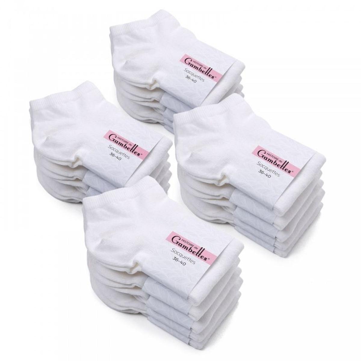 Socquettes Femme coton Blanches (Lot de 20) - Fabriqué en europe