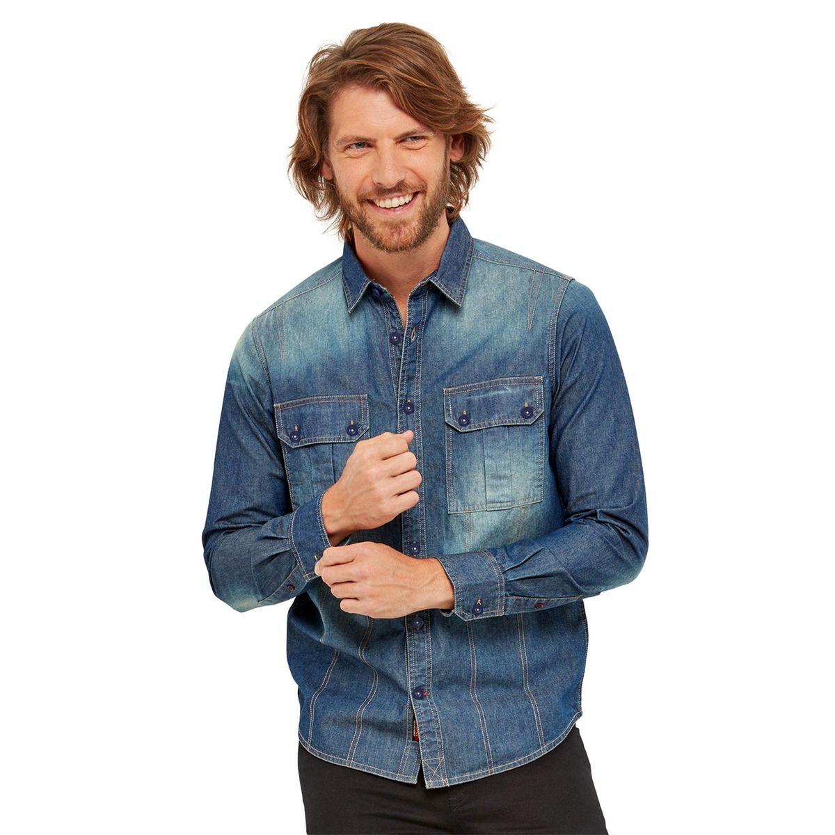 Chemise en jean style utilitaire