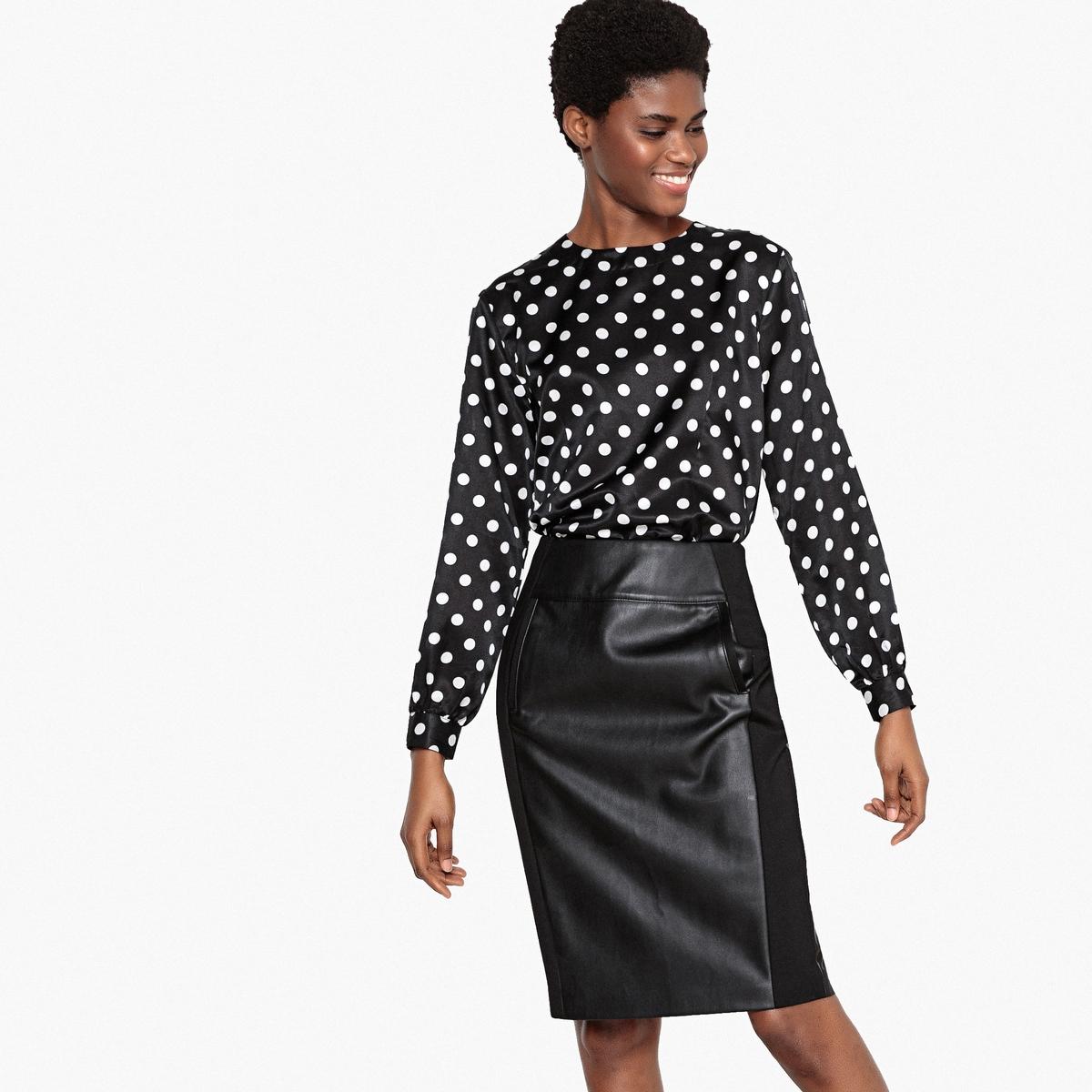 Блузка с принтом из шелка и хлопка с длинными рукавами