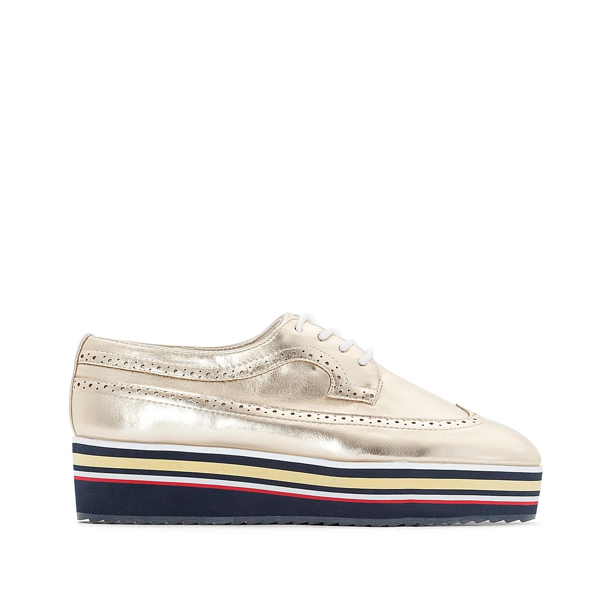 Ботинки-дерби с металлическим блеском и подошвой в полоску