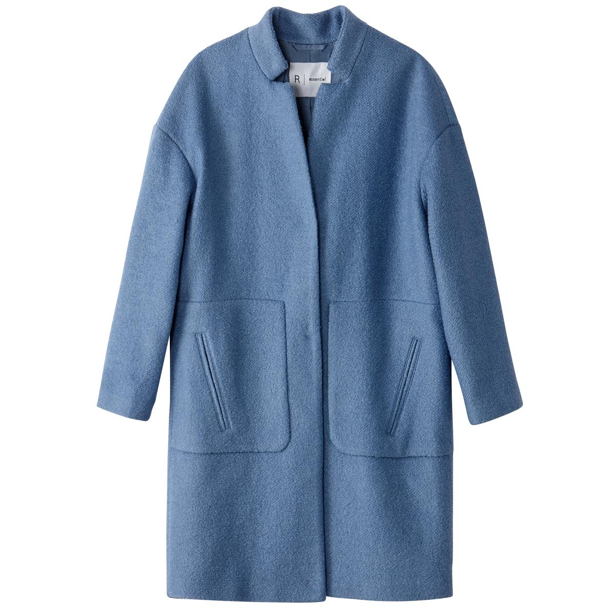 Пальто покроя оверсайз 40% шерсти пальто рогожка драповое 60% шерсти