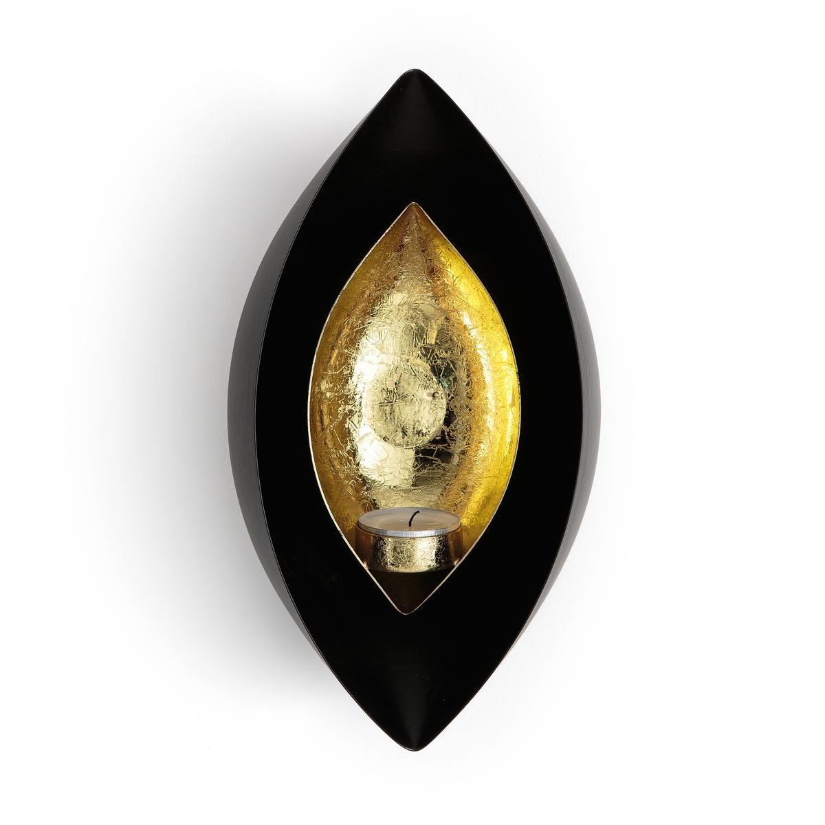 Светильник настенный с зеркалом и эффектом старения JahedaСветильник Jaheda. Осветите ваш интерьер, используя этот светильник из металла. Его рассеиватель в форме сердца обеспечивает теплый и уютный свет.     Характеристики: - Металл с эпоксидной отделкой. - Для греющей свечи (продается отдельно). - Задняя пластина для крепления на стену (винт и дюбель продаются отдельно). Размеры: - Ш14 x В25 x Г9,5 см.<br><br>Цвет: черный/золотистый