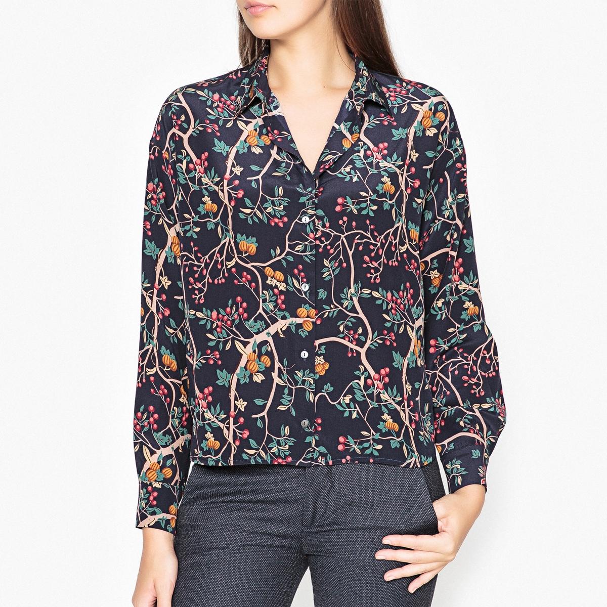 Рубашка с принтом из шелка AGATHEРубашка на пуговицах с длинными рукавами MOMONI - модель AGATHE.  Рубашечный воротник и манжеты на пуговицах из ткани с принтом, 100% шелк .Детали •  Длинные рукава •  Покрой бойфренд, свободный •  Воротник-поло, рубашечный  •  Цветочный рисунок  Состав и уход •  100% шелк •  Следуйте советам по уходу, указанным на этикетке<br><br>Цвет: рисунок черный<br>Размер: 38 (FR) - 44 (RUS)