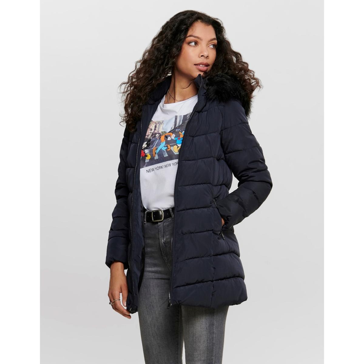 Куртка La Redoute Стеганая длинная с капюшоном и застежкой на молнию S синий
