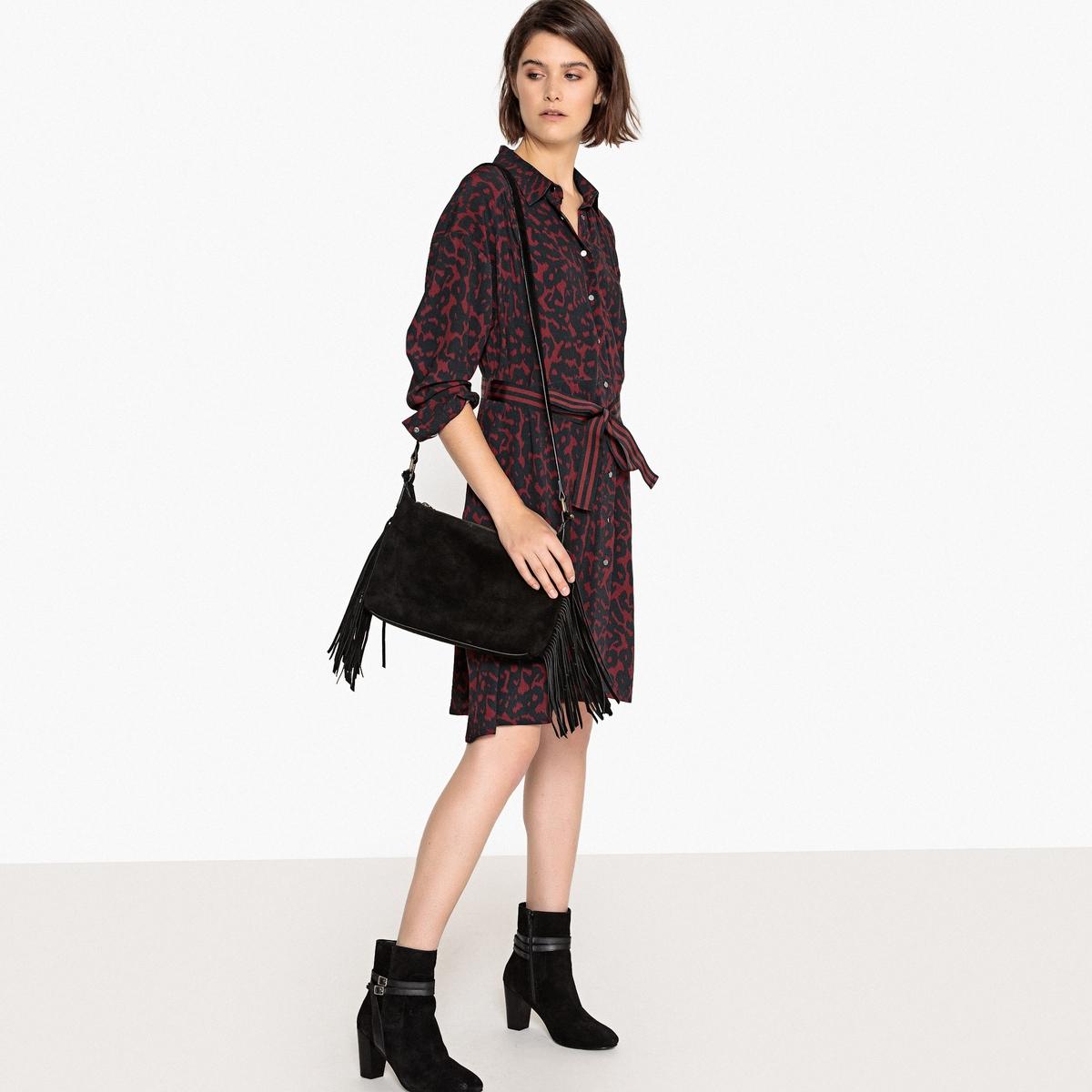 Платье-рубашка с леопардовым рисунком и поясом жакет с леопардовым рисунком
