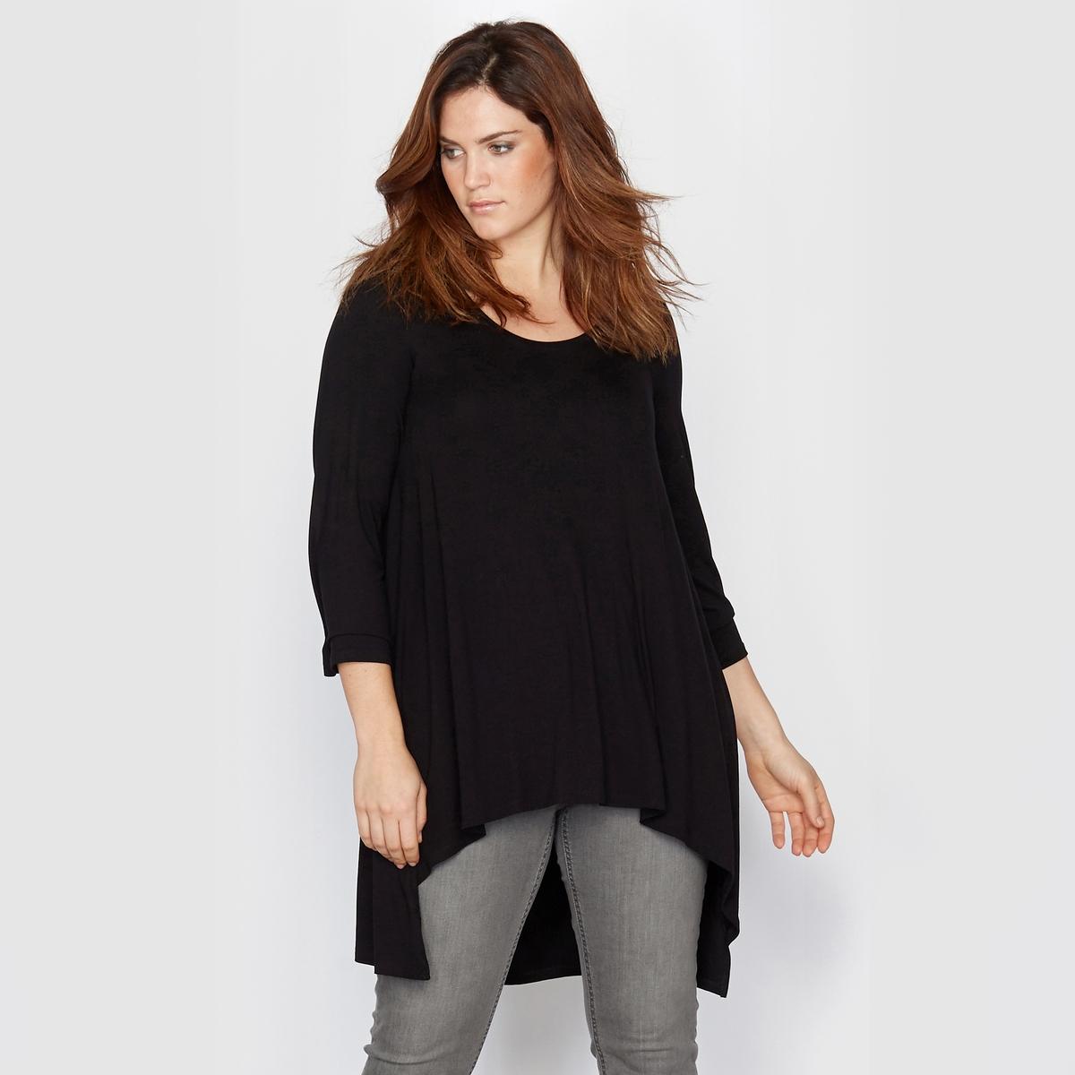 Футболка свободного покрояФутболка. Вам будет удобно в этой футболке широкого покроя с удлиненной спинкой и свободным круглым вырезом. Рукава 3/4. Футболка из мягкого эластичного трикотажа: 95% вискозы, 5% эластана. Длина : 75 см.<br><br>Цвет: розовый пурпурный,темно-серый меланж,черный<br>Размер: 46/48 (FR) - 52/54 (RUS).50/52 (FR) - 56/58 (RUS).54/56 (FR) - 60/62 (RUS).62/64 (FR) - 68/70 (RUS).42/44 (FR) - 48/50 (RUS).46/48 (FR) - 52/54 (RUS).54/56 (FR) - 60/62 (RUS).58/60 (FR) - 64/66 (RUS).46/48 (FR) - 52/54 (RUS).54/56 (FR) - 60/62 (RUS)
