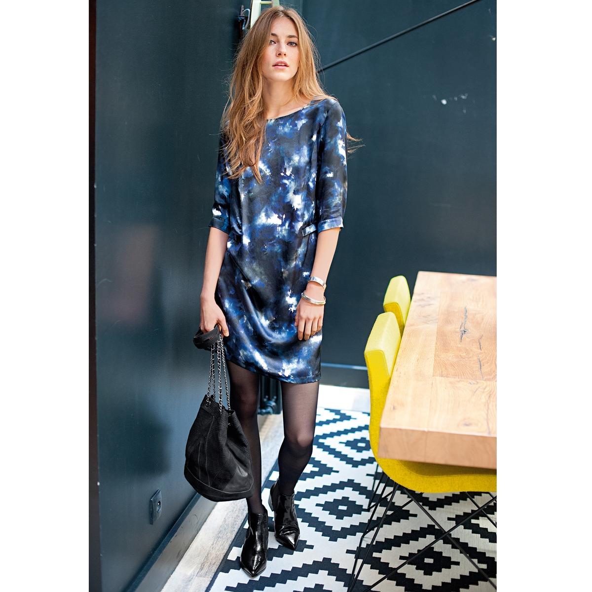 Платье с рисунком, 100% шелкаПлатье с рисунком, 100% шелка. Отрезное по талии. Перекрещивающиеся детали сзади. Красивая застежка. Низ рукавов 3/4 с кнопками. Длина 90 см.<br><br>Цвет: набивной рисунок<br>Размер: 36 (FR) - 42 (RUS)