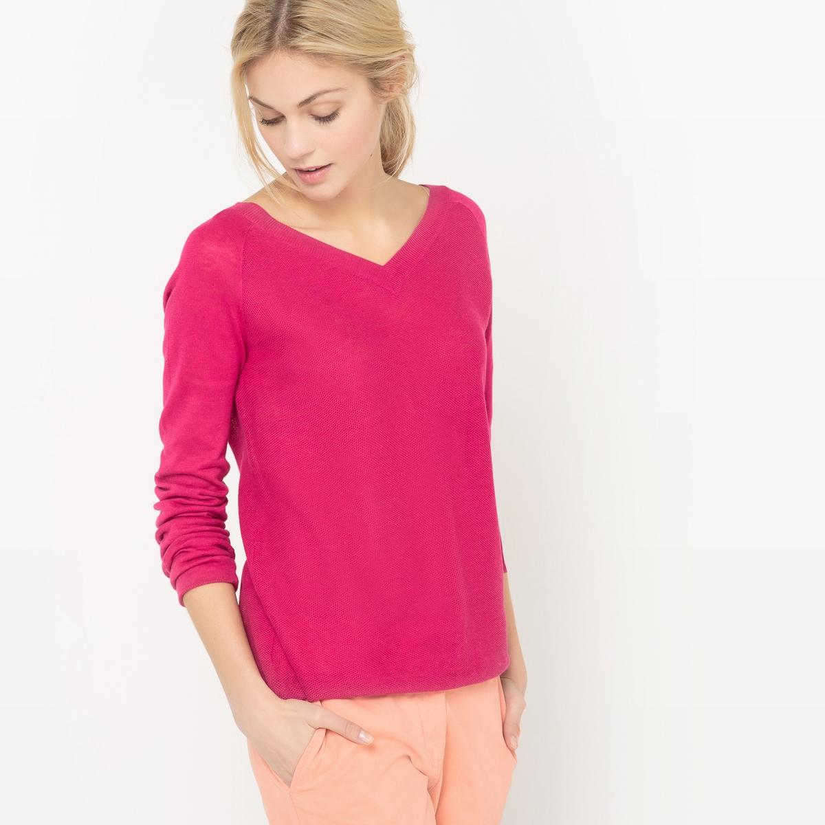 Пуловер с V-образным вырезом спереди и сзади, из хлопка и льна