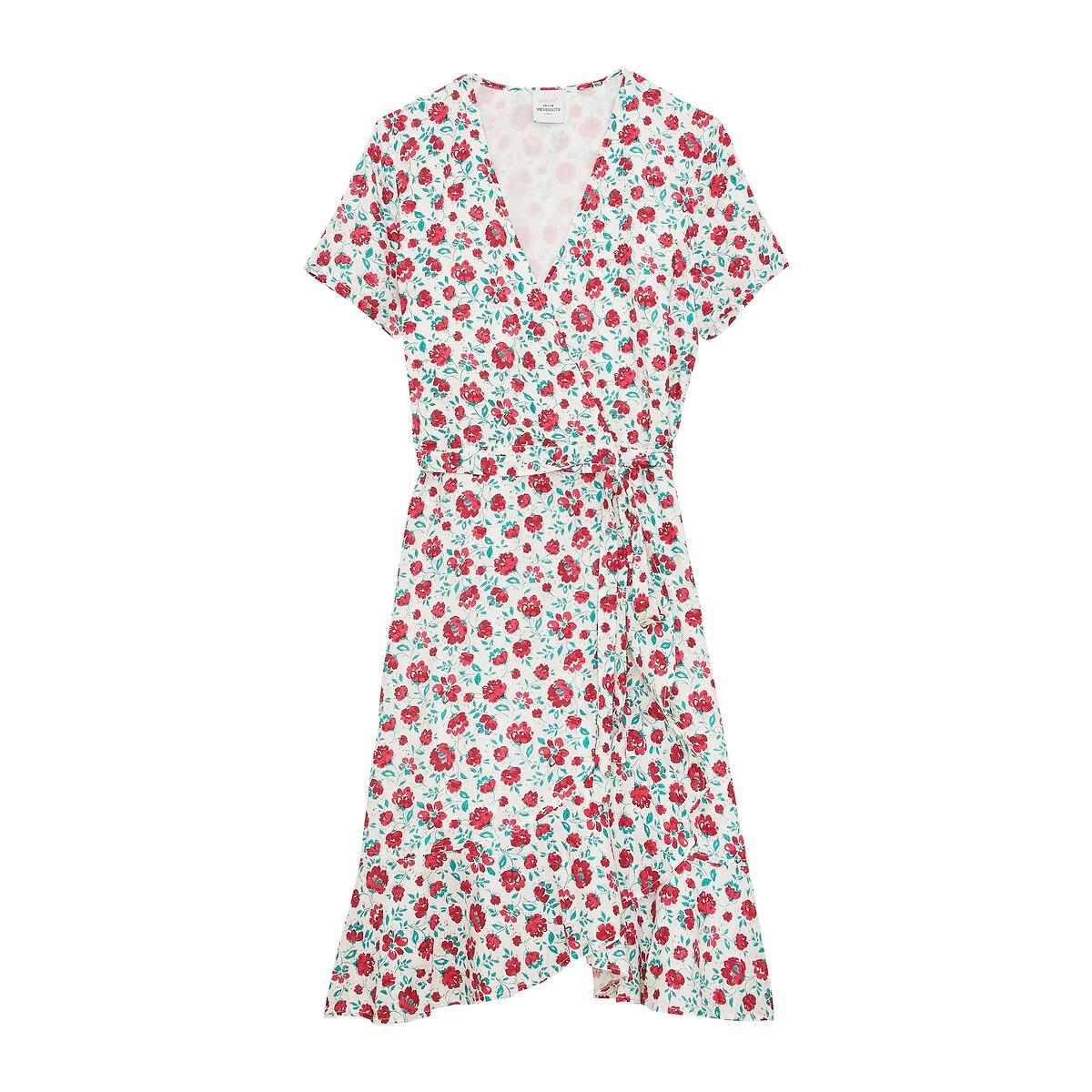 Платье LaRedoute С запахом и цветочным принтом короткое AGNES S розовый