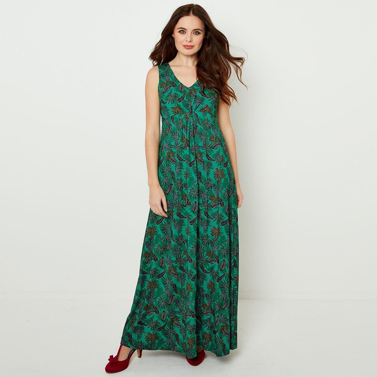 Платье La Redoute Длинное струящееся с рисунком с V-образным вырезом 42 (FR) - 48 (RUS) зеленый платье la redoute длинное без рукавов с застежкой на пуговицы спереди 42 fr 48 rus зеленый