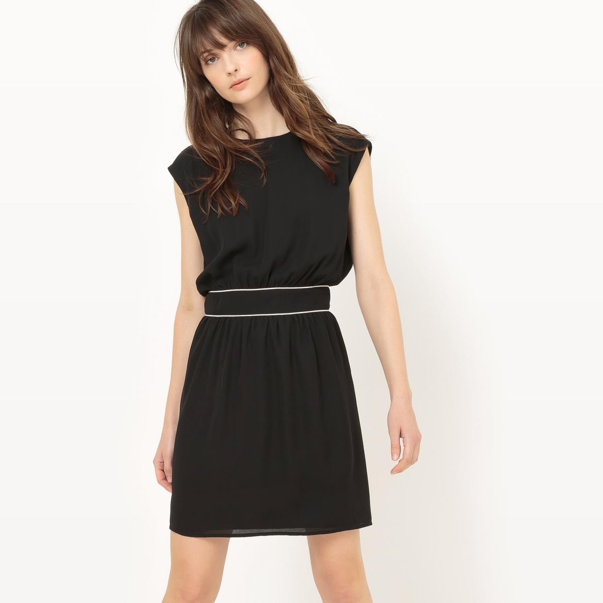 Платье короткое, с короткими рукавами, однотонноеМатериал : 100% полиэстер  Длина рукава : короткие рукава  Форма воротника : круглый вырез Покрой платья : платье прямого покроя   Рисунок : однотонная модель   Длина платья : укороченная модель<br><br>Цвет: розовый,черный