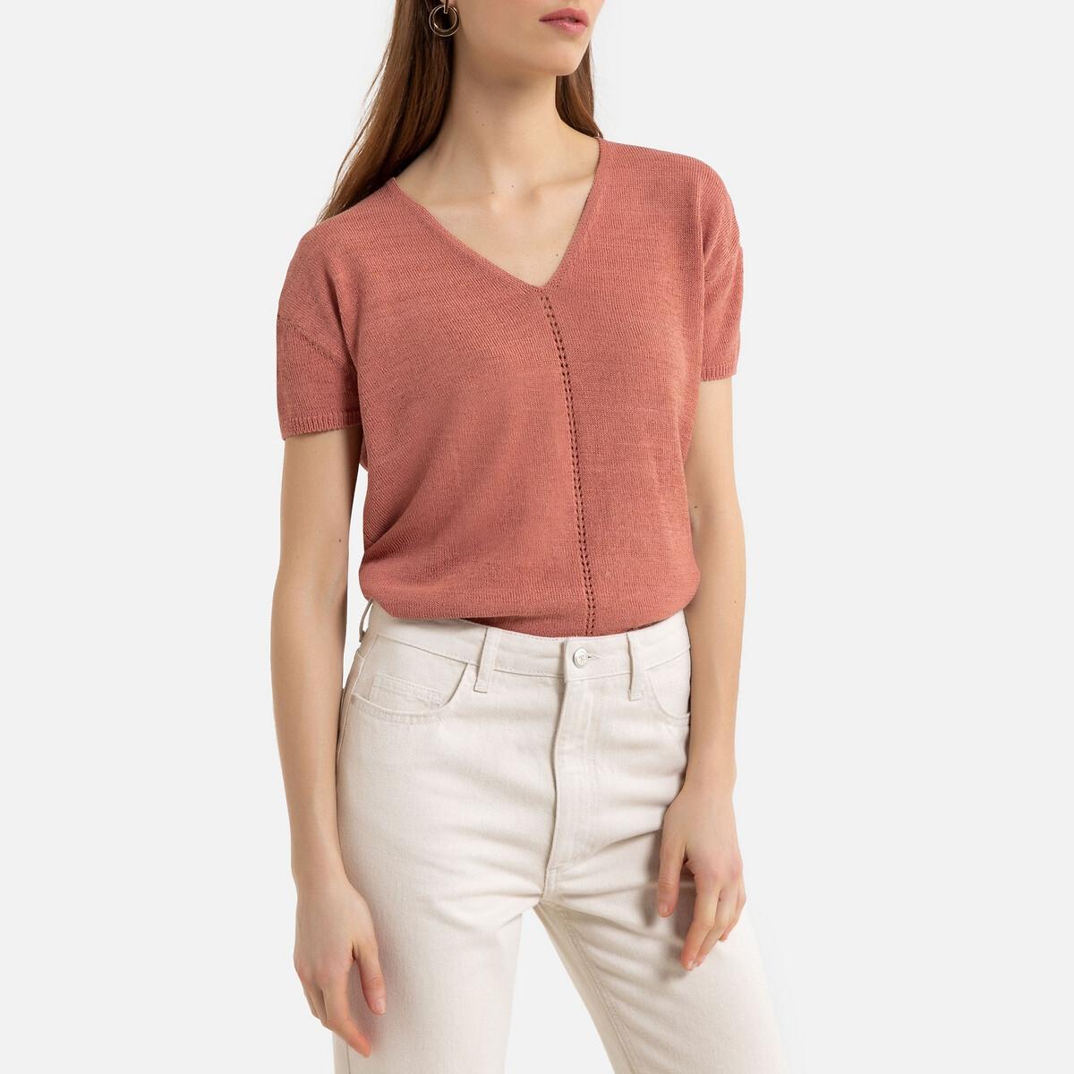 Фото - Пуловер La Redoute С V-образным вырезом из тонкого трикотажа XL розовый пуловер la redoute с v образным вырезом из тонкого трикотажа florestine 2 m серый