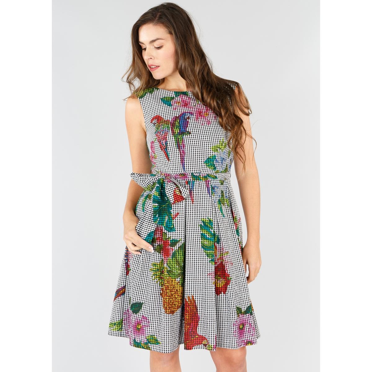 Платье расклешённое с тропическим рисунком без рукавов платье укороченное расклешённое с рисунком рукава 3 4