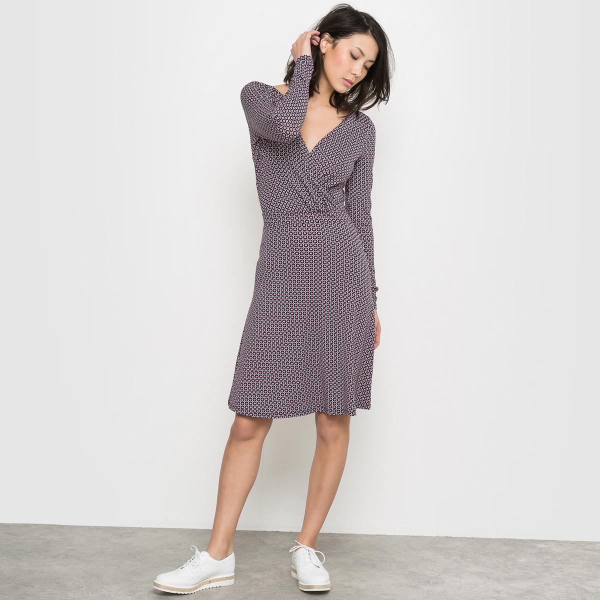 Платье с длинными рукавами, с драпировкой и принтом LES PETITS PRIX