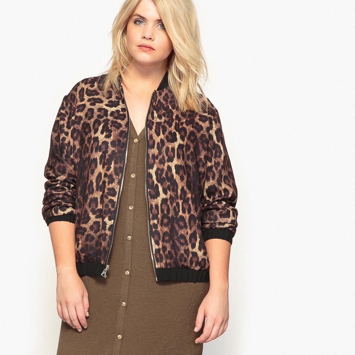 Куртка-бомбер двусторонняя черной/леопардовой расцветок