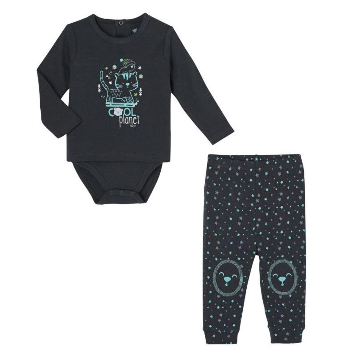 Ensemble bébé garçon body T-shirt + pantalon Cool Planet