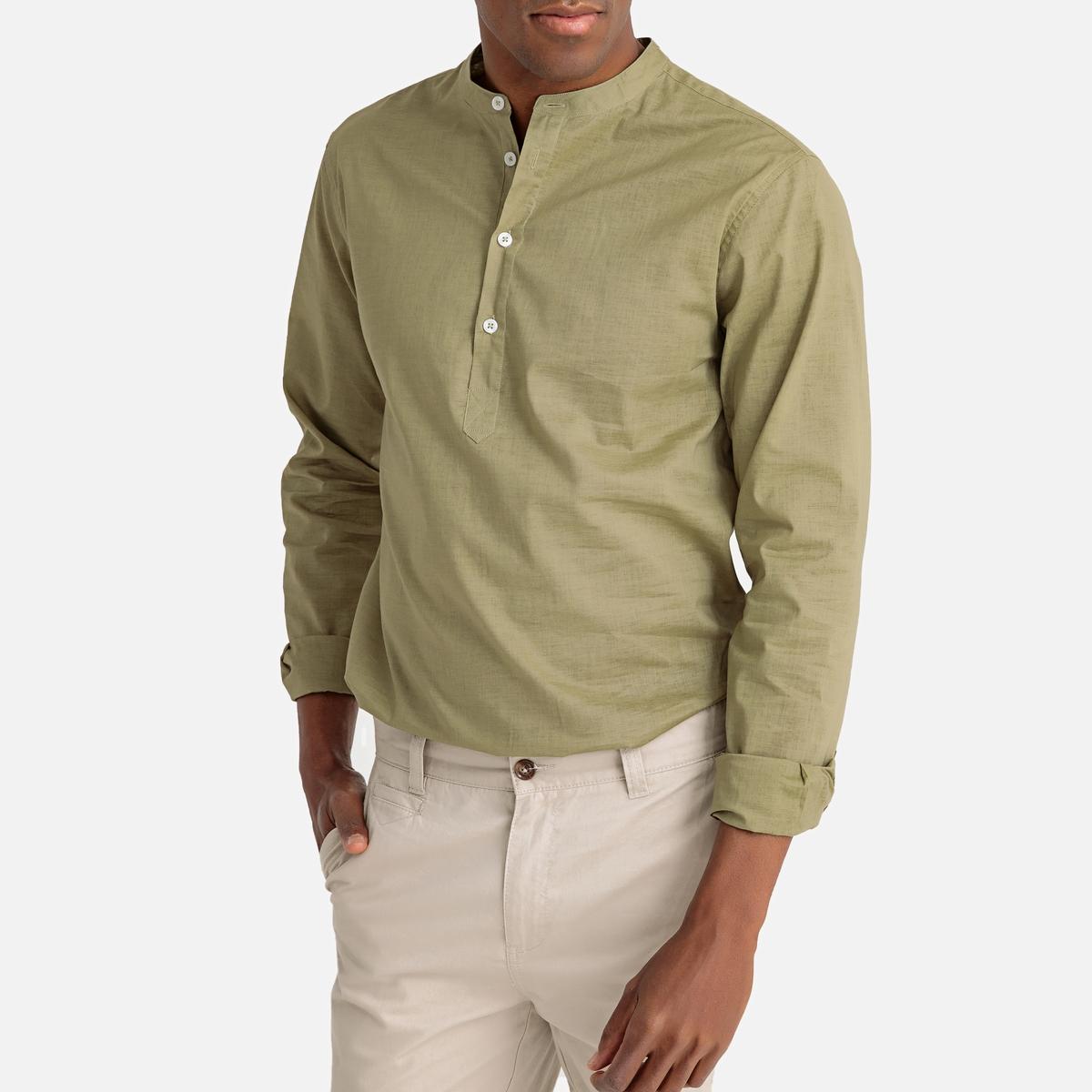 цена Рубашка La Redoute Прямого покроя с круглым вырезом с разрезом спереди и длинными рукавами 37/38 зеленый онлайн в 2017 году