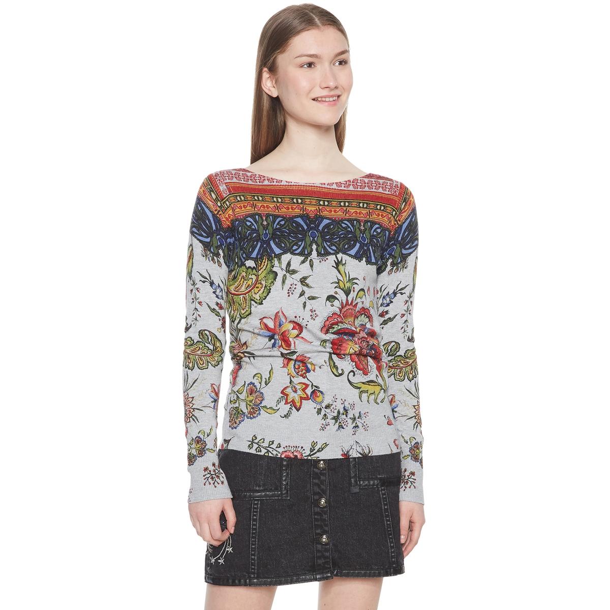 Jersey con estampado de flores y cuello barco