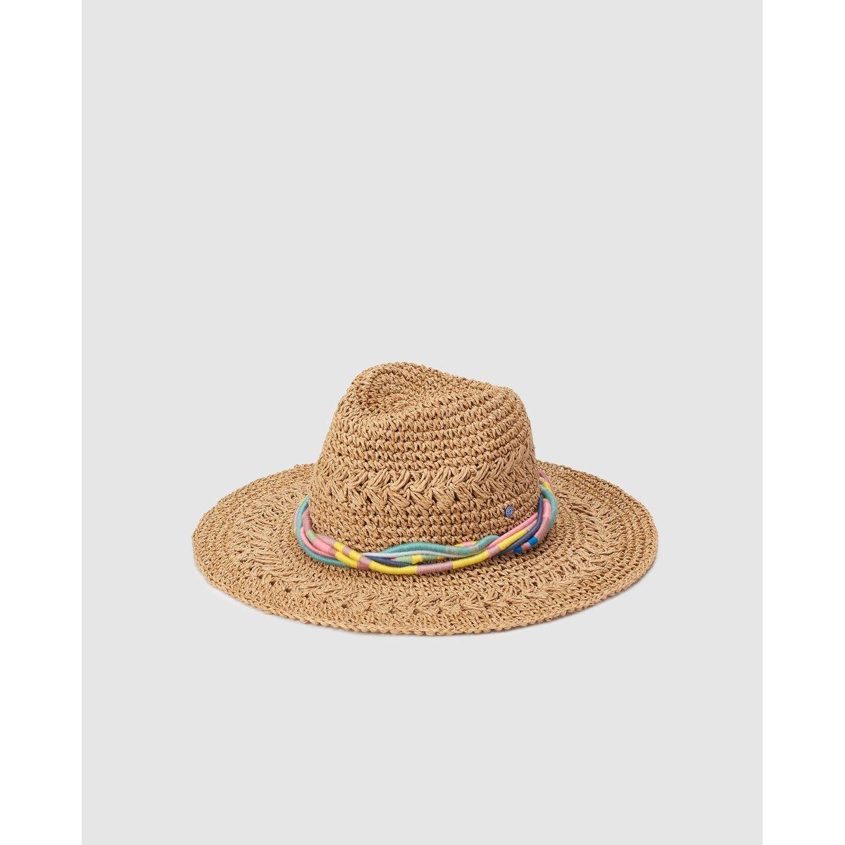 Chapeau en papier écru avec liens