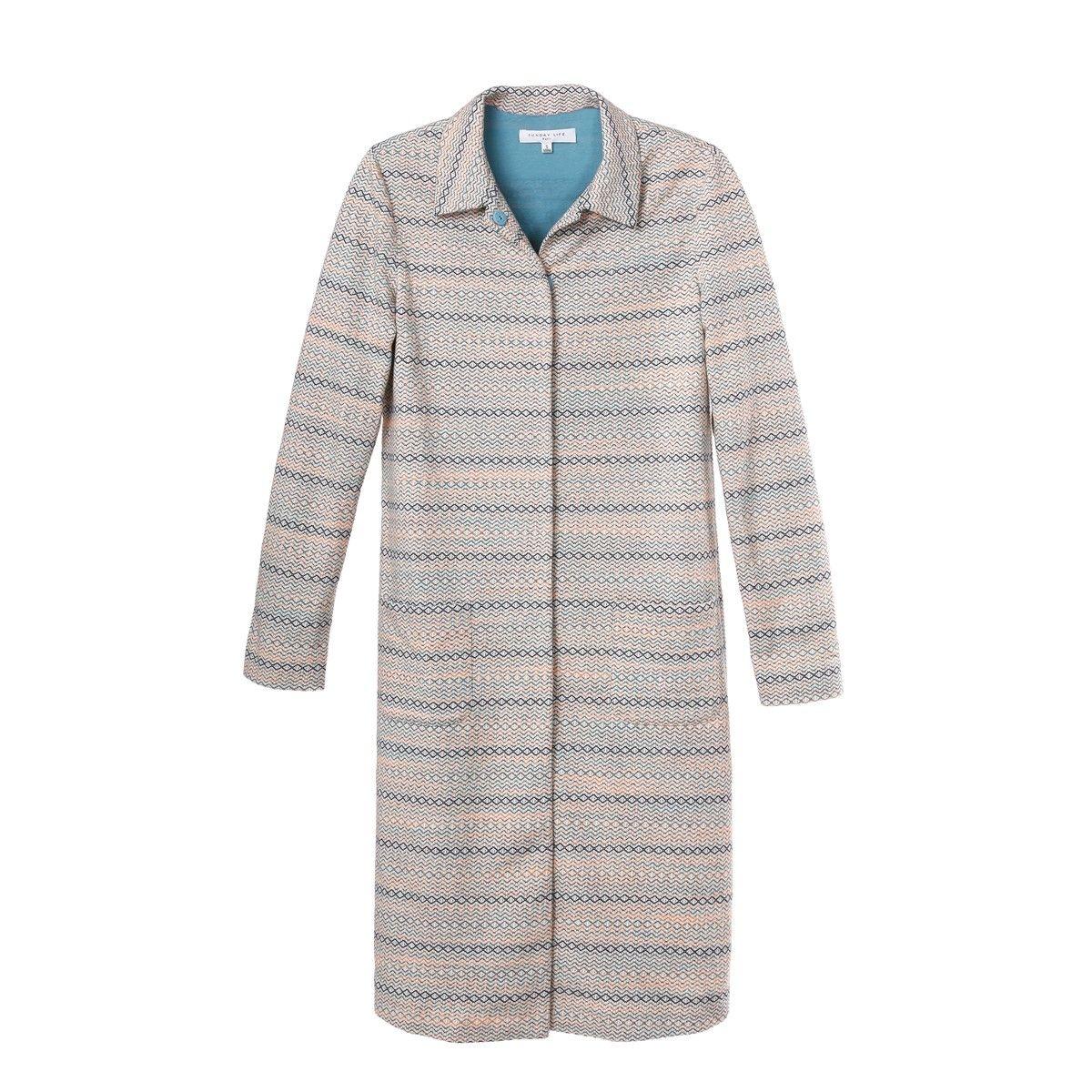 Veste à rayure façon robe en maille de coton entre saison facile à porter