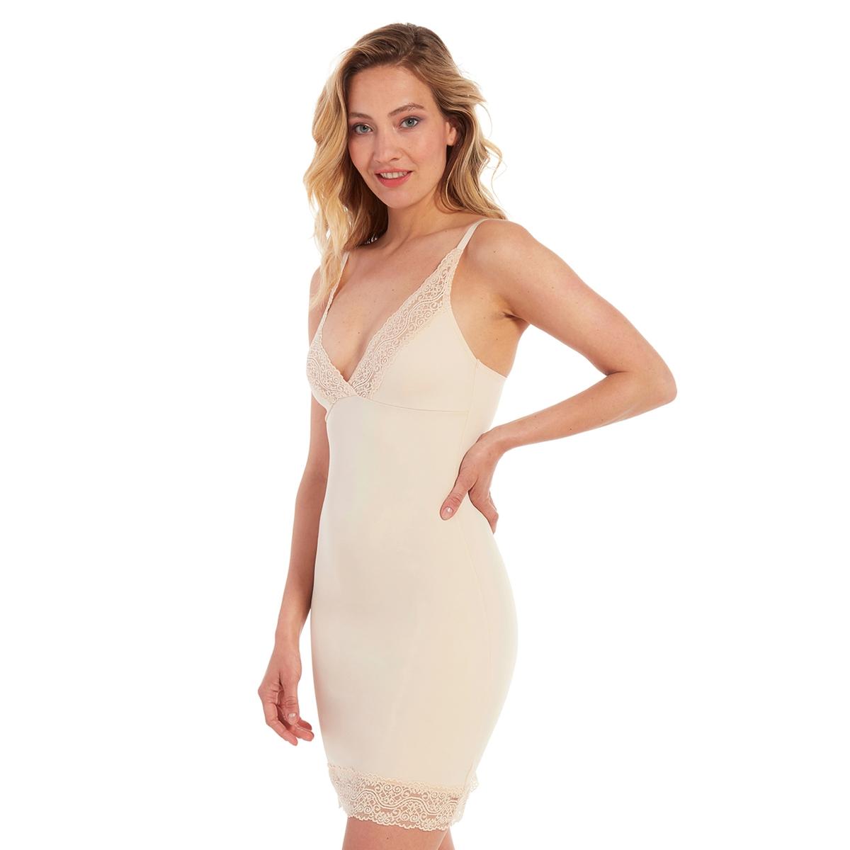 Платье La Redoute Облегающее с V-образным вырезом из кружева Be Pretty S бежевый