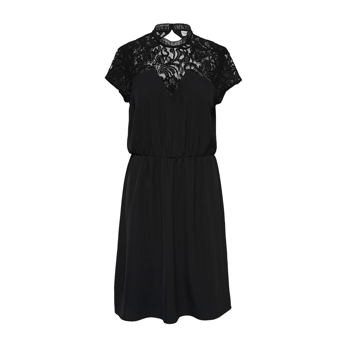 Платье с кружевными вставками на вырезе