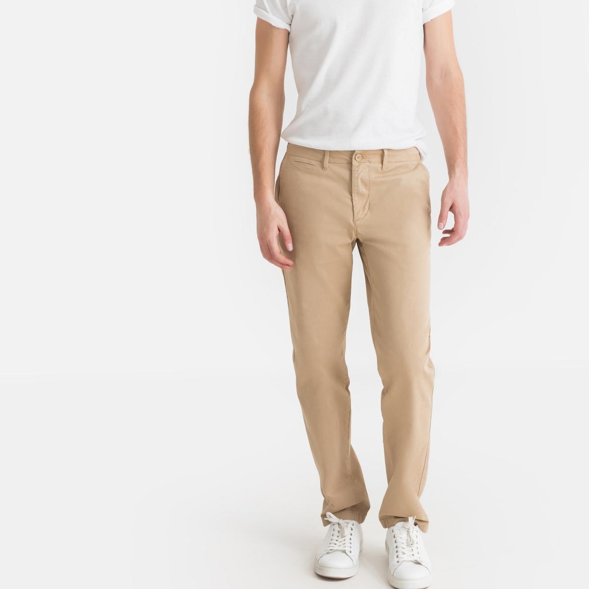 Calças chino corte direito, algodão stretch