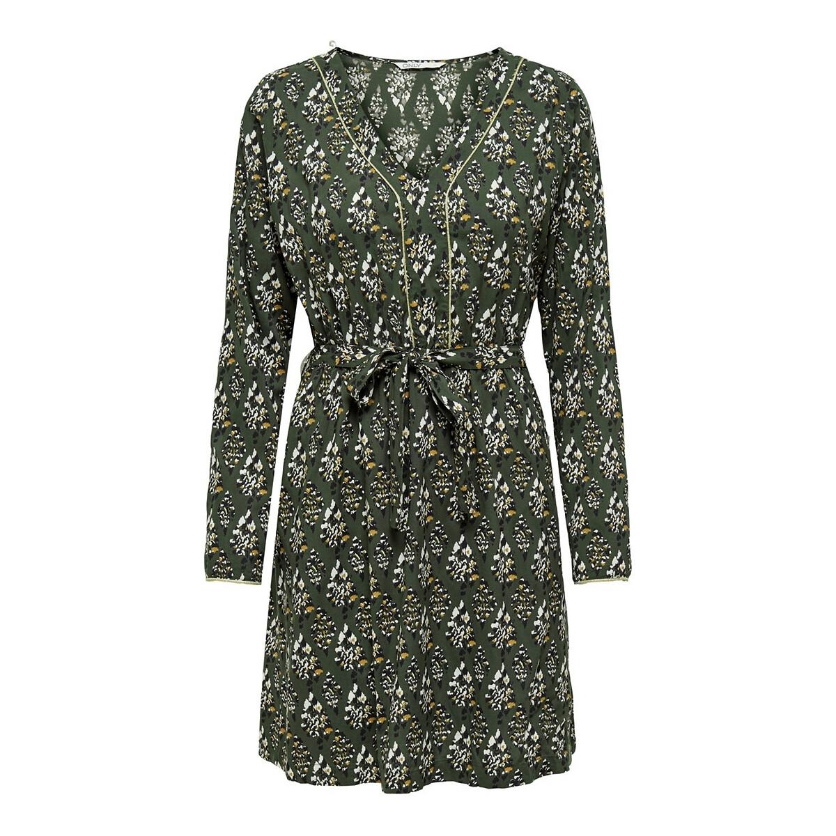 Платье LaRedoute Короткое с принтом с завязками 40 (FR) - 46 (RUS) зеленый юбка laredoute длинная асимметричная с принтом 42 fr 48 rus зеленый