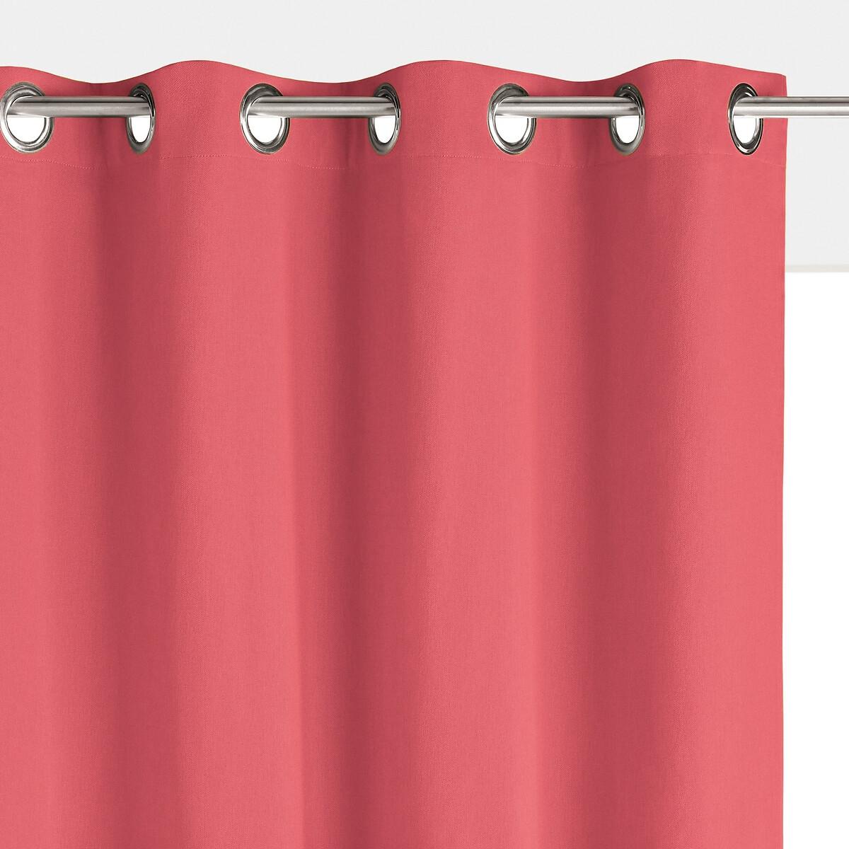 Штора LaRedoute Затемняющая с люверсами 100 хлопок Scenario 220 x 135 см розовый