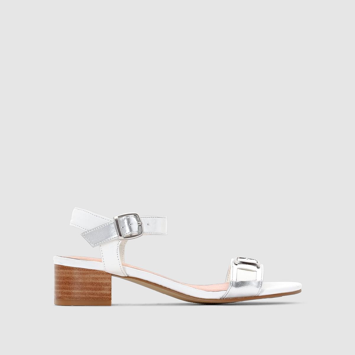 Босоножки кожаные на широком каблуке от ANNE WEYBURN
