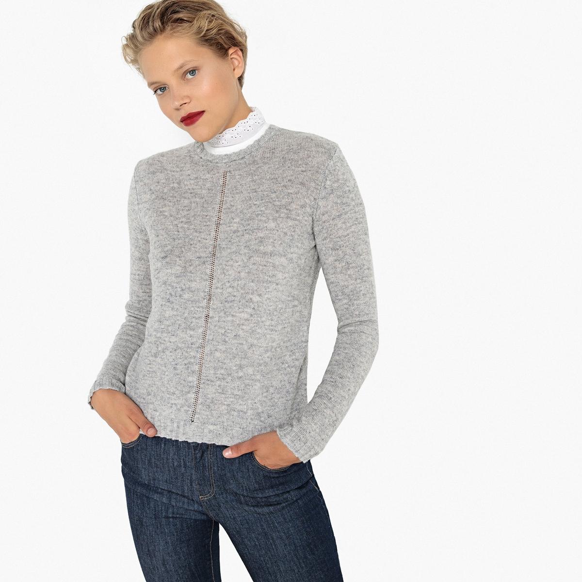 Jersey con cuello camisero de lana mezclada