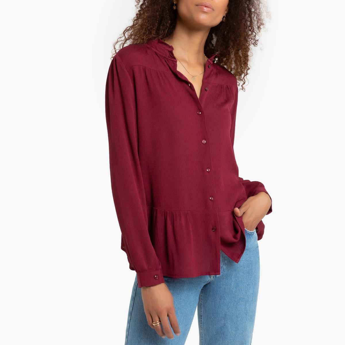 Блузка La Redoute С круглым вырезом и баской с длинными рукавами 0(XS) розовый футболка с круглым вырезом с длинными рукавами с воланом