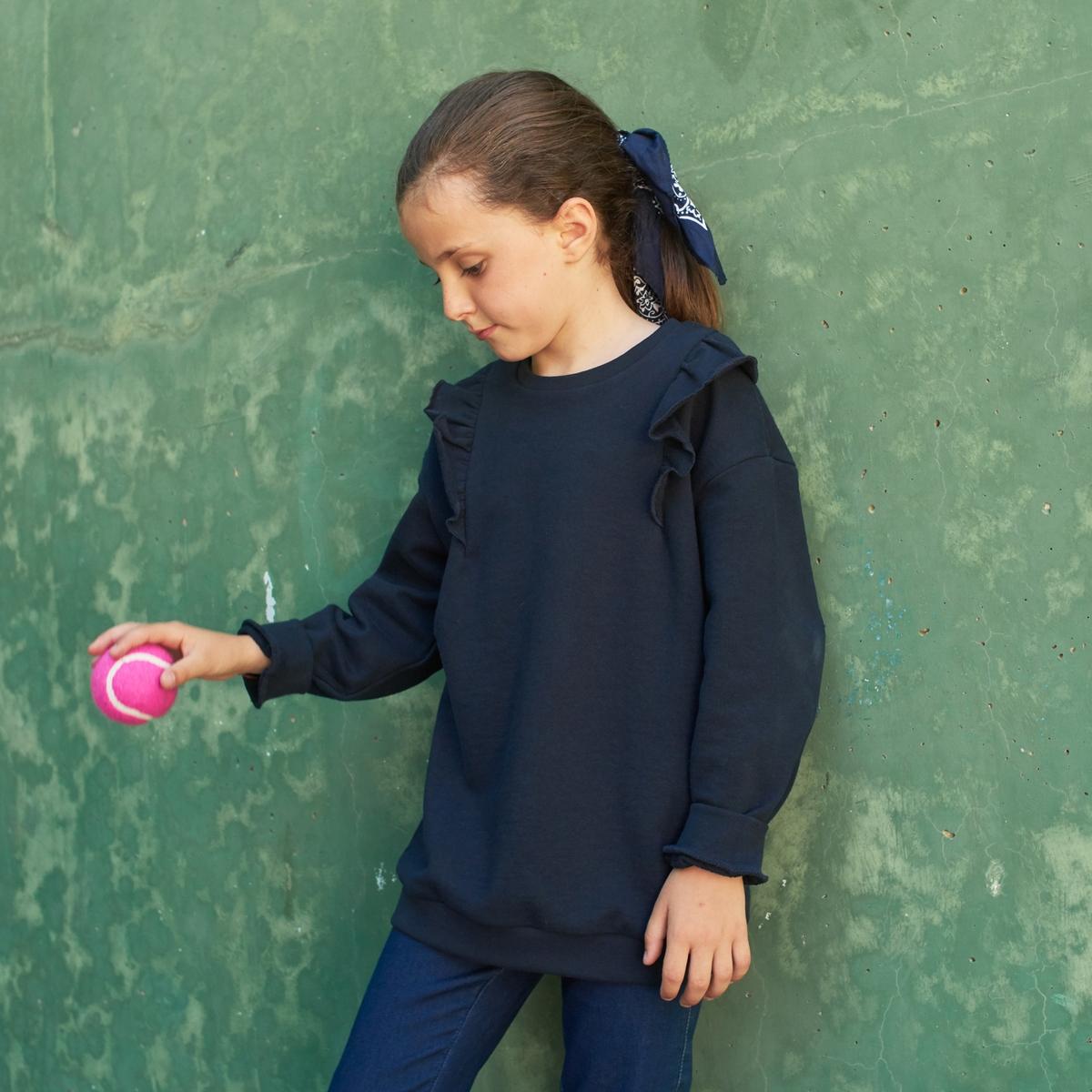 Свитшот La Redoute С круглым вырезом и воланами на плечах 12 лет -150 см синий свитшот la redoute с круглым вырезом и воланами на плечах 12 лет 150 см синий