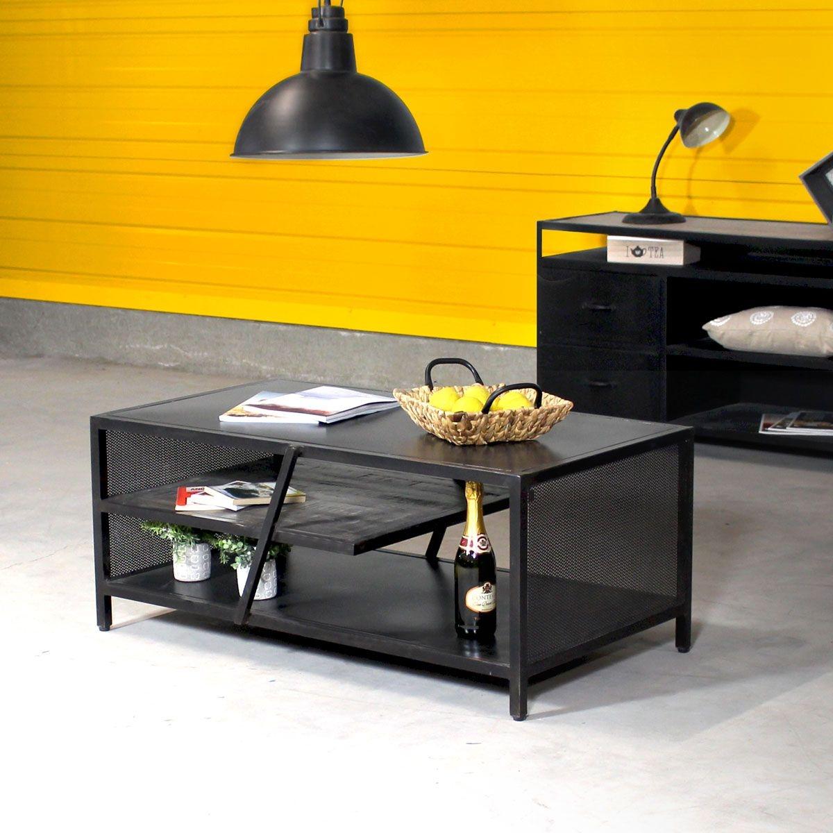 Table Basse Style Industriel Métal Noir If762rp Métal Made In Meubles