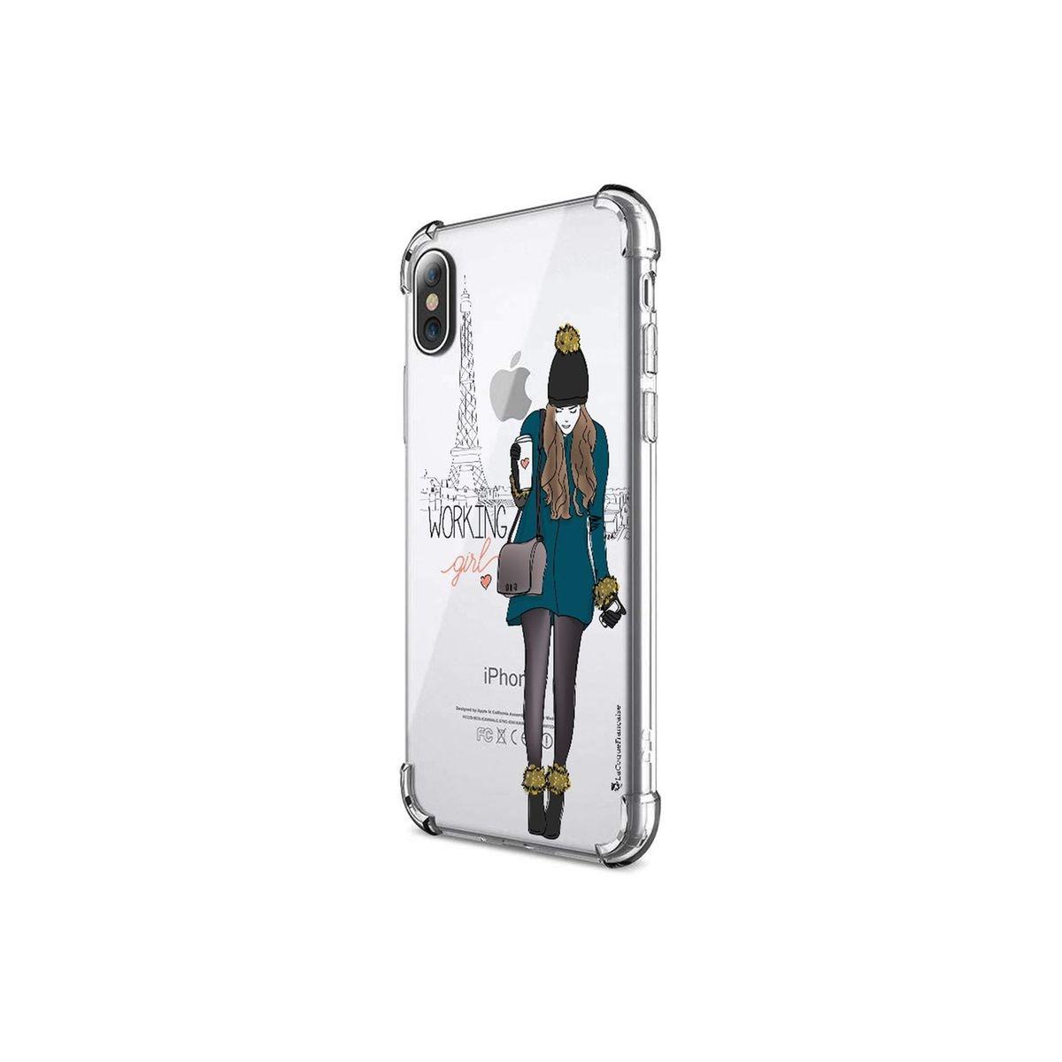 Coque iPhone X iPhone XS anti-choc souple avec angles renforcés transparente, Working girl, La Coque Francaise®